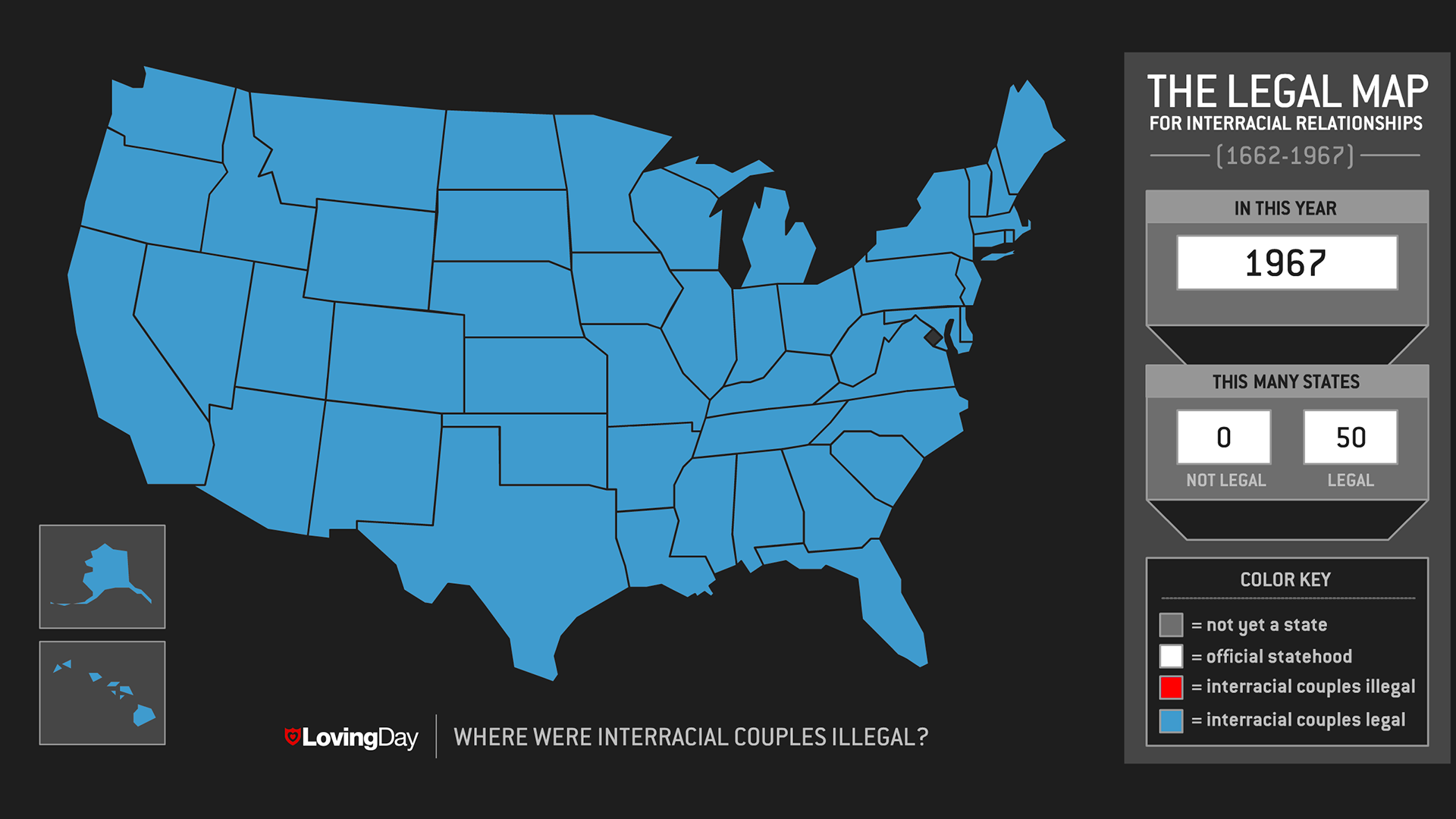 Loving Day: where were interracial couples illegal? The Legal Map for interracial relationships (1662-1967). In this year: 1967. This many states: 0 not legal, 50 legal.