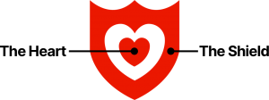 A diagram that explains the symbol from the Loving Day logo, which shows a heart shape inside of a shield shape
