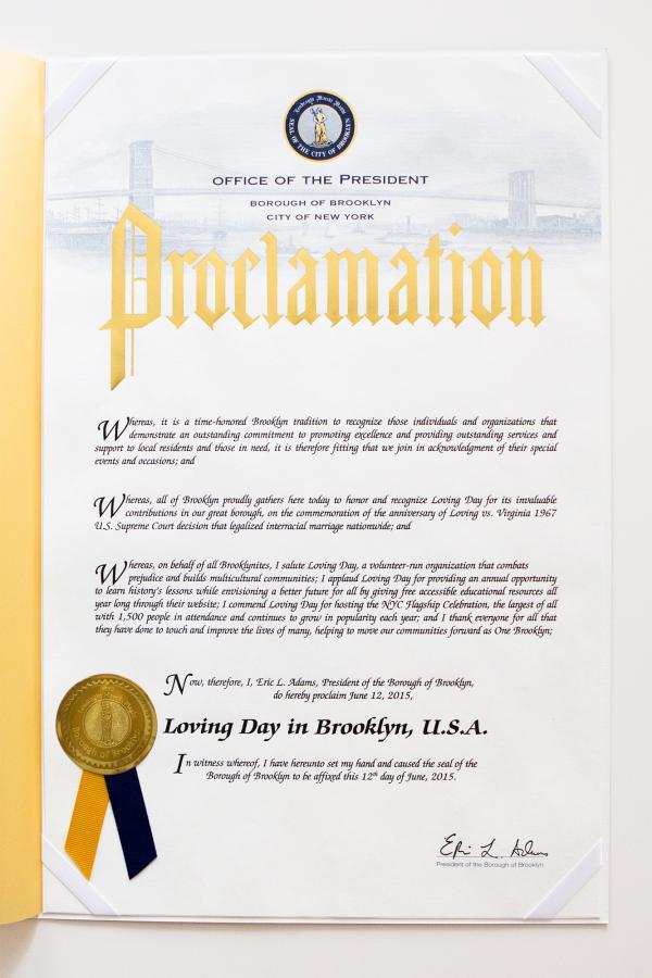 Loving Day Proclamation Brooklyn, NY 2015