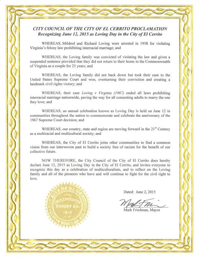 Loving Day Proclamation El Cerrito CA 06/02/15