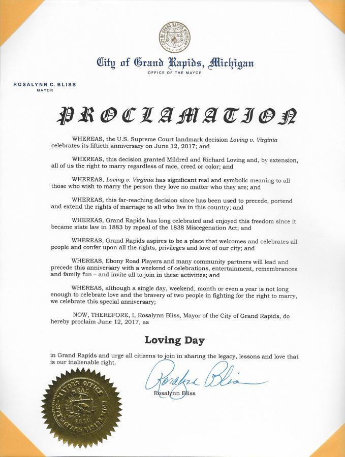 Loving Day Proclamation Grand Rapids Michigan 06/12/17