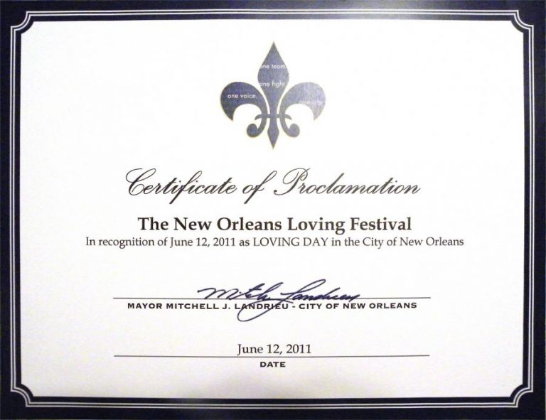 Loving Day Proclamation New Orleans 06/12/11