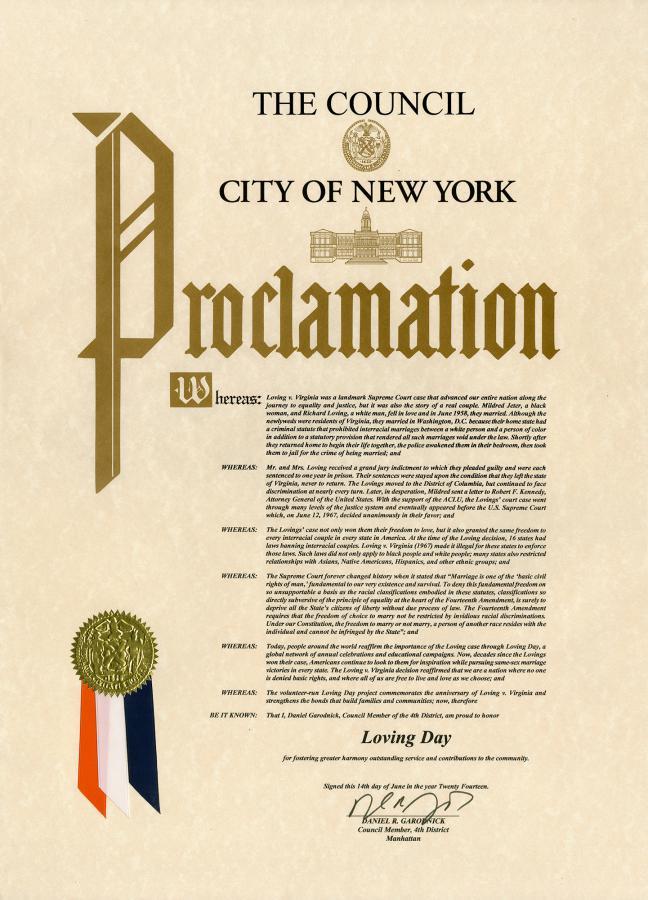 Loving Day Proclamation New York City 06/14/14