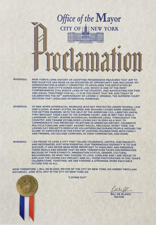 Loving Day Proclamation New York City Mayor Bill De Blasio 2017 Day of