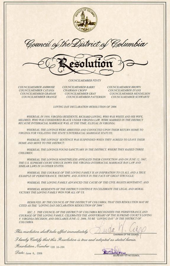 Loving Day Proclamation Washington DC 06/06/06