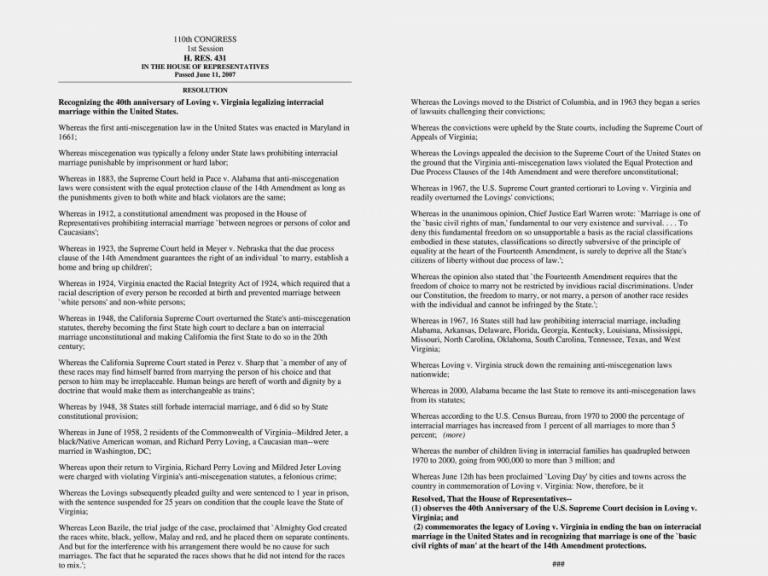 Loving Day Resolution U.S. House of Representatives 06/11/07 2 column