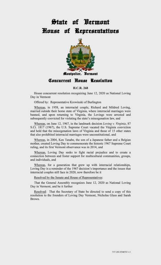 Loving Day Resolution Vermont State 02/28/20