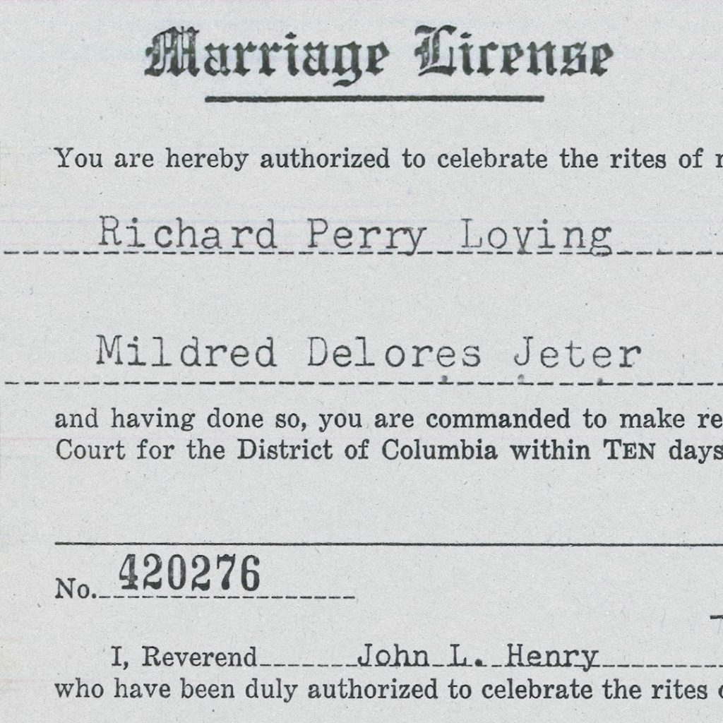 A cropped and edited version of the marriage license document for Richard Perry Loving and Mildred Delores Jeter from Washington, DC dated June 2nd, 1958 and also includes the name of Reverend John L. Henry.