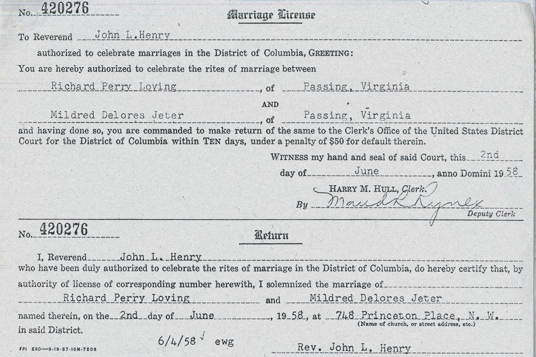 Marriage license document for Richard Perry Loving and Mildred Delores Jeter from Washington, DC dated June 2nd, 1958 and also includes the name of Reverend John L. Henry.