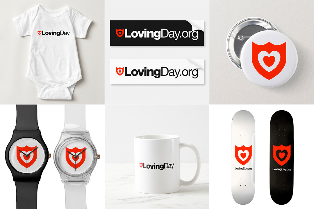 A montage of items with the Loving Day logo, including a baby onesie, bumper stickers, pins, watches, a mug, and skateboard decks.